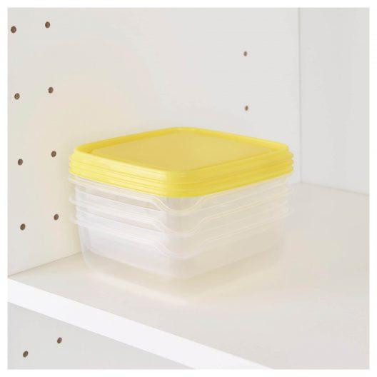 ظروف نگهدارنده سه تکه زرد ایکیا مدل PRUTA
