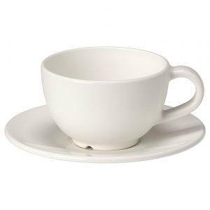 فنجان و نعلبکی سفید ایکیا مدل VARDAGEN