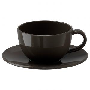 فنجان و نعلبکی قهوه ای ایکیا مدل VARDAGEN