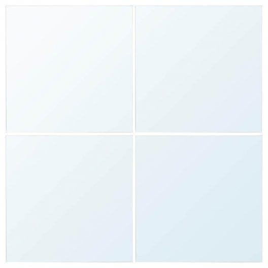 چهار عدد آینه سی در سی سانتی متر قابل چیدمان در اشکال مختلف لوزی، مربع و ... دارای چسب دو طرفه جهت نصب آسان