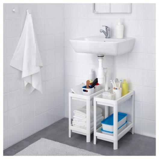 شلف حمام دو طبقه سفید ایکیا مدل VESKEN