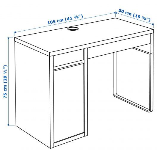 میز تحریر کمد دار سفید ایکیا مدلMICKE