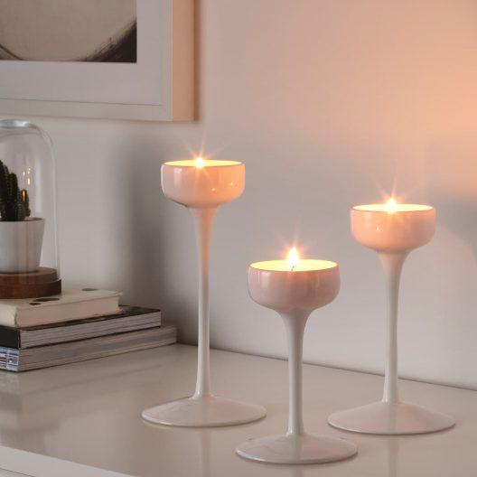 جا شمعی 3 تایی سفید پهن ایکیا مدل BLOMSTER