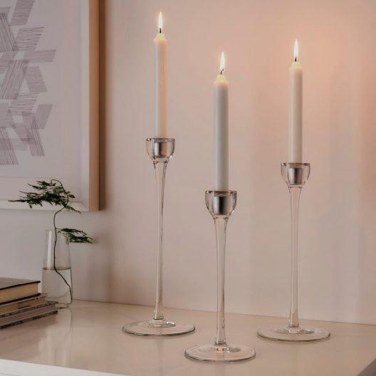 جا شمعی 3 تایی باریک شیشه ای ایکیا مدل BLOMSTER